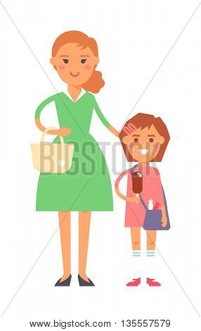 Mother and daughter vector illustration.