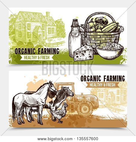 Organic farming horizontal banners with healthy and fresh food farmhouse and farm animals on white background sketch hand drawn isolated vector illustration