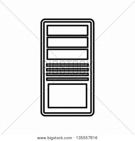 Black computer system unit icon in outline style isolated on white background