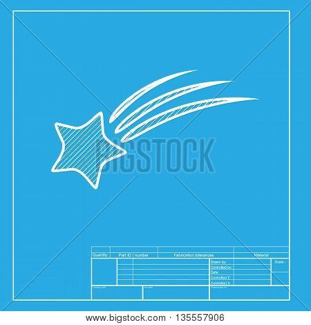 Shooting star sign. White section of icon on blueprint template.