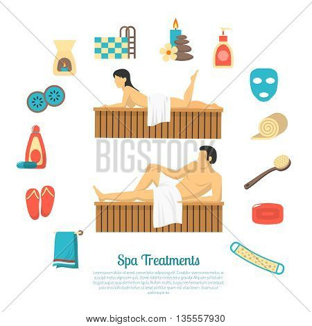 Family bath visit flat icons composition with poster man and woman sauna steam room accessories vector illustration