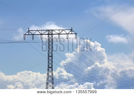 Composition Of Power Lines And Cloudscape On Blue Sky