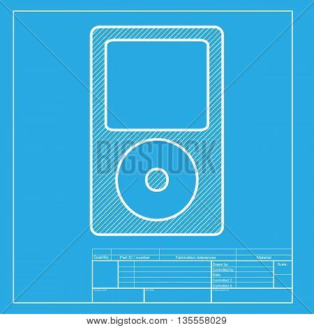 Portable music device. White section of icon on blueprint template.