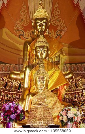 Buddha Statues , Face Of Gold Buddha, Close Up Face Of Gold Buddha, Thailand ,asia.
