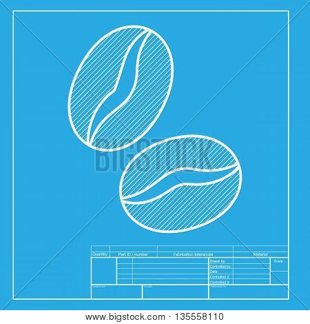 Coffee beans sign. White section of icon on blueprint template.
