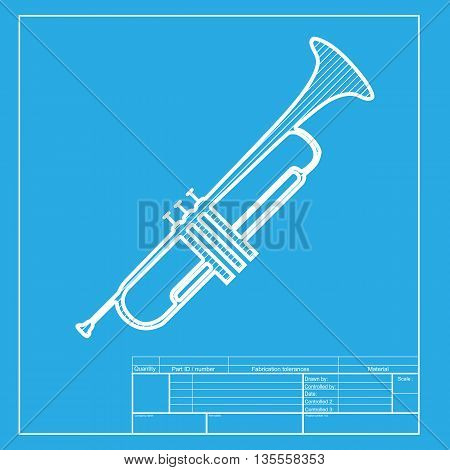 Musical instrument Trumpet sign. White section of icon on blueprint template.