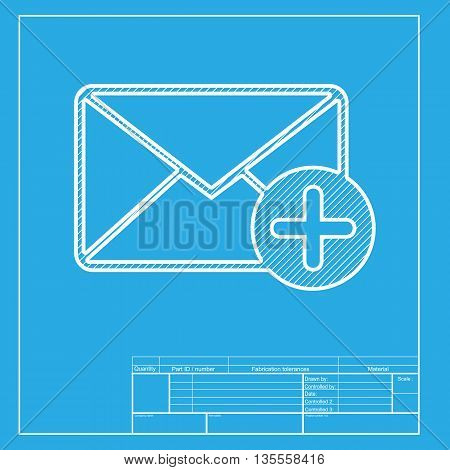 Mail sign illustration with add mark. White section of icon on blueprint template.