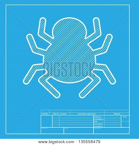 Spider sign illustration. White section of icon on blueprint template.
