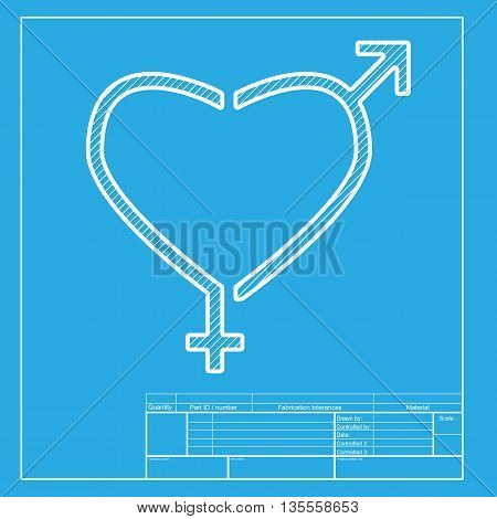 Gender signs in heart shape. White section of icon on blueprint template.