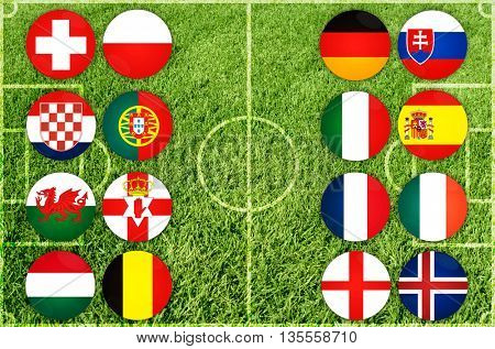 European country flags icon on green grass background