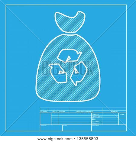 Trash bag icon. White section of icon on blueprint template.