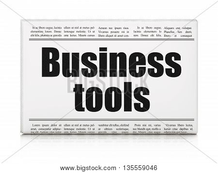 Finance concept: newspaper headline Business Tools on White background, 3D rendering