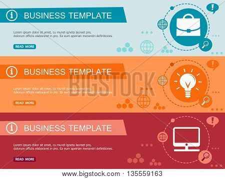 Template For Wesite Headers. Flat Design Concept. Set Of Vector Web Banners.