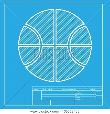 Basketball ball sign illustration. White section of icon on blueprint template.