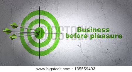 Success finance concept: arrows hitting the center of target, Green Business Before pleasure on wall background, 3D rendering