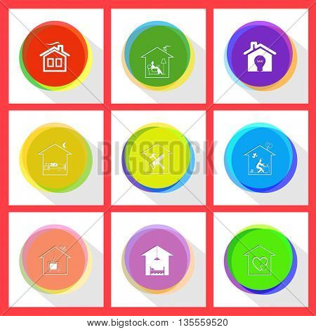 home reading, light in home, bedroom, workshop, inspiration, home tv, hotel, orphanage. Home set. Internet template. Vector icons.