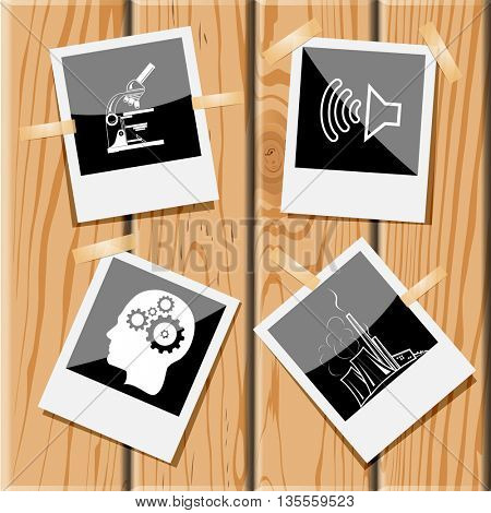lab microscope, loudspeaker, human brain, thermal power engineering. Tehnology set. Photo frames on wooden desk. Vector icons.