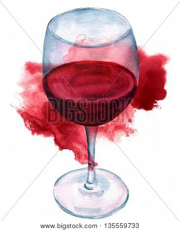 A glass of red wine hand painted on white background with a burgundy colored stain
