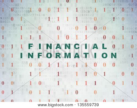 Finance concept: Painted green text Financial Information on Digital Data Paper background with Binary Code