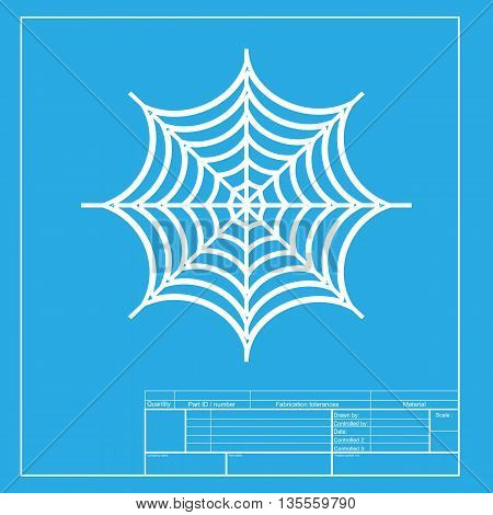 Spider on web illustration. White section of icon on blueprint template.