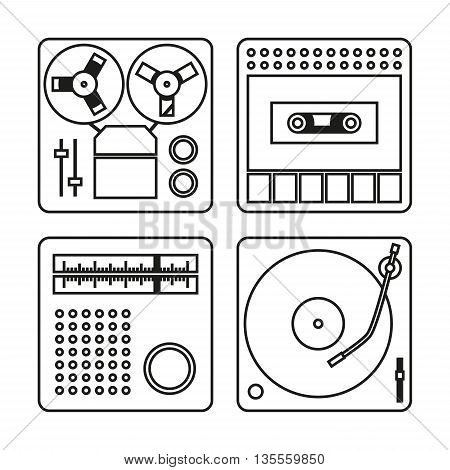 Set of white icons with black outlines for tape recorder gramophone radio and cassette recorder