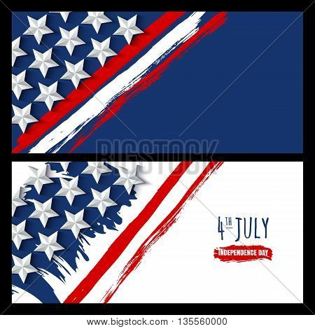 Vector Watercolor Horizontal Banners And Backgrounds. 4Th Of July, Usa Independence Day. Watercolor