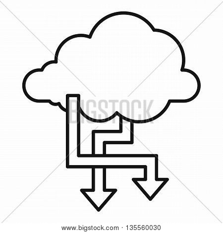 Cloud and arrows icon in outline style isolated on white background