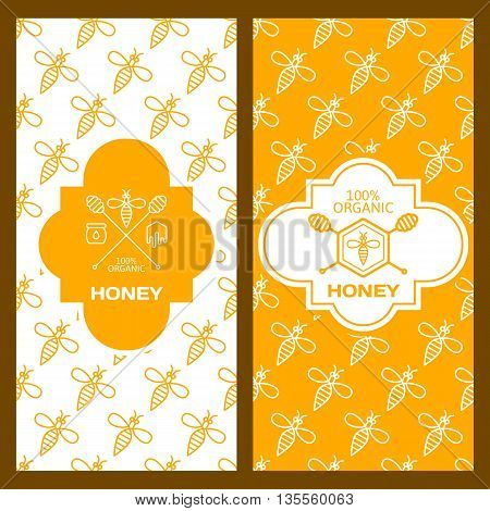 Set Of Vector Honey Backgrounds For Label, Package, Banner. Seamless Pattern With Yellow And White B