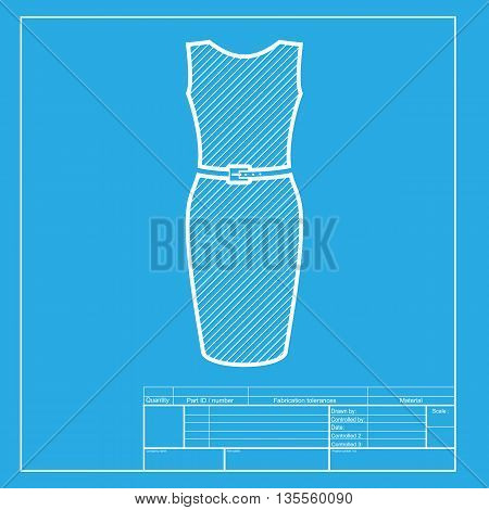 Dress sign illustration. White section of icon on blueprint template.