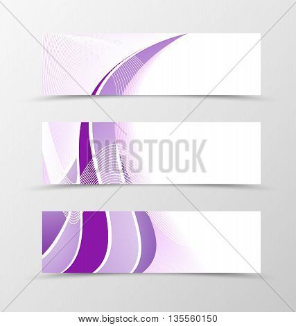 Set of banner smooth design. Purple banner for header with silver lines. Design of banner in wavy style. Vector illustration