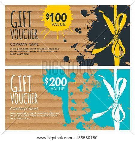 Vector Gift Voucher Template. Hand Drawn Bow Ribbon And Craft Cardboard With Watercolor Stains. Holi