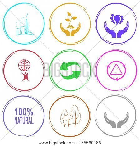 thermal power engineering, plant in hands, bird in hands, little man with globe, recycle symbol, 100% natural, trees, human hands. Ecology set. Internet button. Vector icons.
