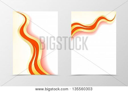 Smooth flyer template design. Abstract flyer template in gold and red colors. Wavy flyer design. Vector illustration