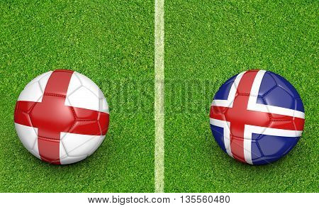 Team balls for England vs Iceland football tournament match, 3D rendering