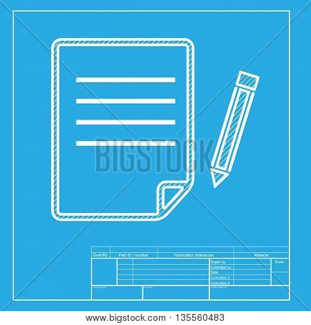 Paper and pencil sign. White section of icon on blueprint template.