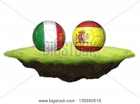 Italy vs Spain team balls for football championship tournament, 3D rendering