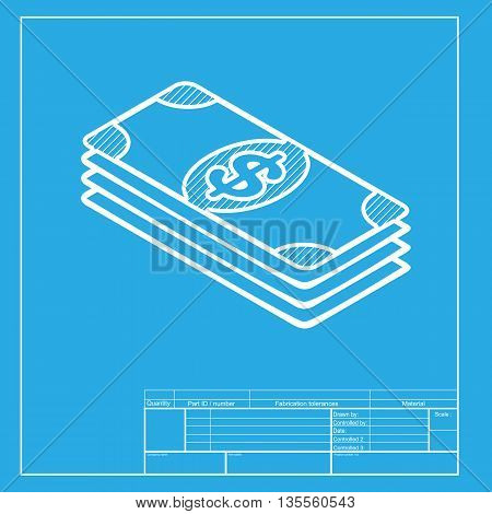 Bank Note dollar sign. White section of icon on blueprint template.