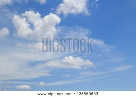 Blue sky and white clouds. Sky and clouds background. Sky background with copy space for any design