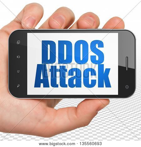 Safety concept: Hand Holding Smartphone with blue text DDOS Attack on display, 3D rendering