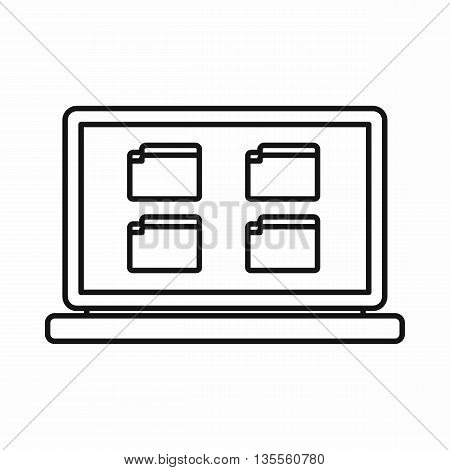 Desktop icon in outline style isolated on white background