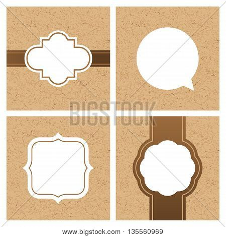 Vector Set Of Vintage Frames And Banners With Craft Paper Texture. White Frame And Text Boxes On Car
