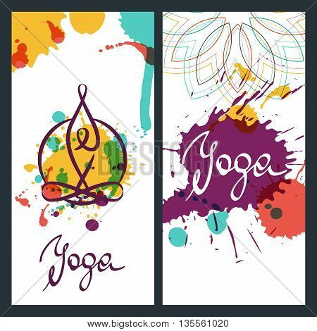 Yoga backgrounds logo and lettering. Vector design elements for for banner poster flyer label. Yoga watercolor illustration.