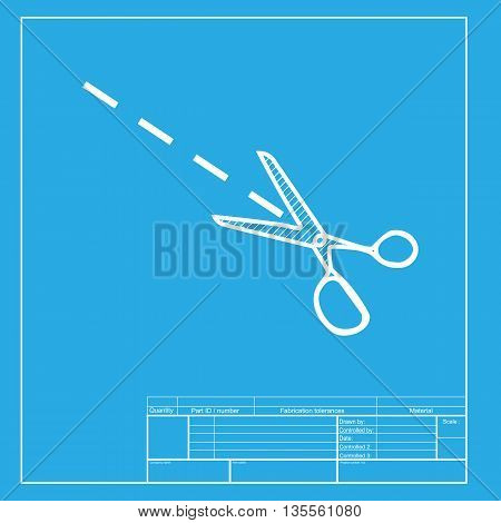 Scissors sign illustration. White section of icon on blueprint template.