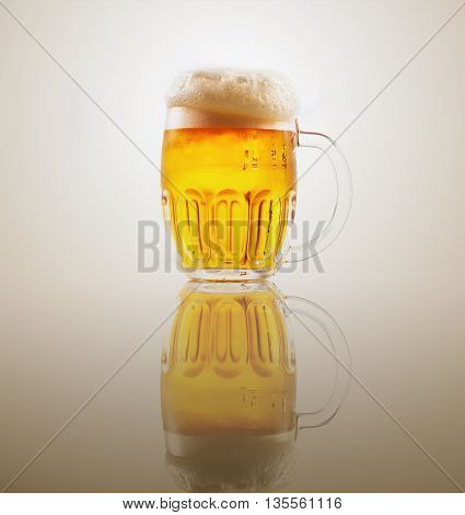 Mug with beer on the mirror table .