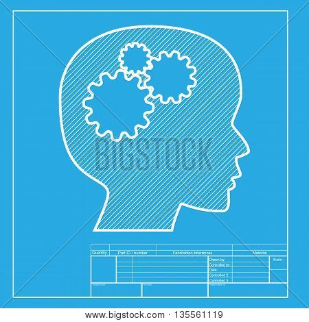 Thinking head sign. White section of icon on blueprint template.