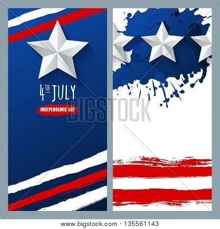 Vector Watercolor Banners And Backgrounds. 4Th Of July, Usa Independence Day.  Watercolor Usa Flag O