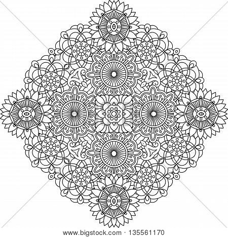 Outlined circular geometric symmetrical pattern with intricate floral like detailed shapes over white background