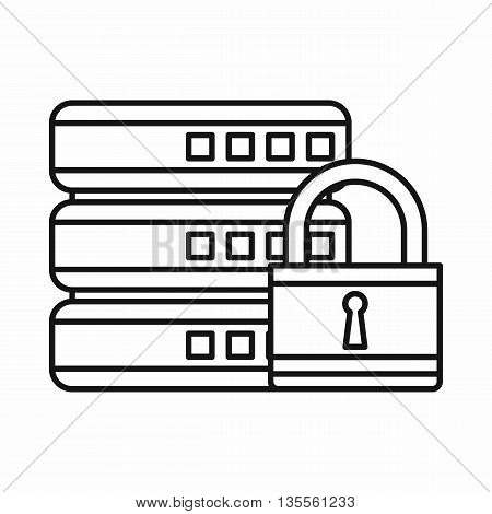Database with padlock icon in outline style isolated on white background