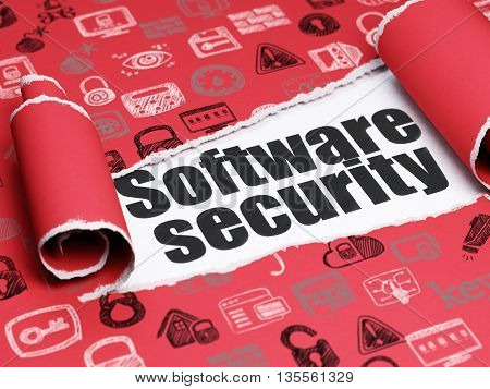 Privacy concept: black text Software Security under the curled piece of Red torn paper with  Hand Drawn Security Icons, 3D rendering