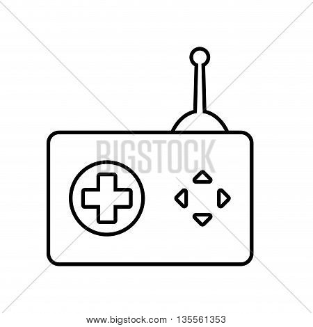 Video game concept represented by control and button icon over flat and isolated background